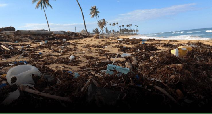 Plastic Waste on a sunny beach